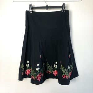 Anthropologie Elevenses Embroidered Black Skirt